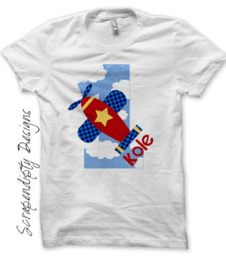 Airplane Number Iron On Transfer Pattern - First Birthday Airplane Shirt / Boys Aviation Tshirt