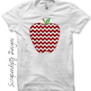 Chevron Apple Iron On Transfer Pattern / Bask to School Shirt / Kids Teacher Gift