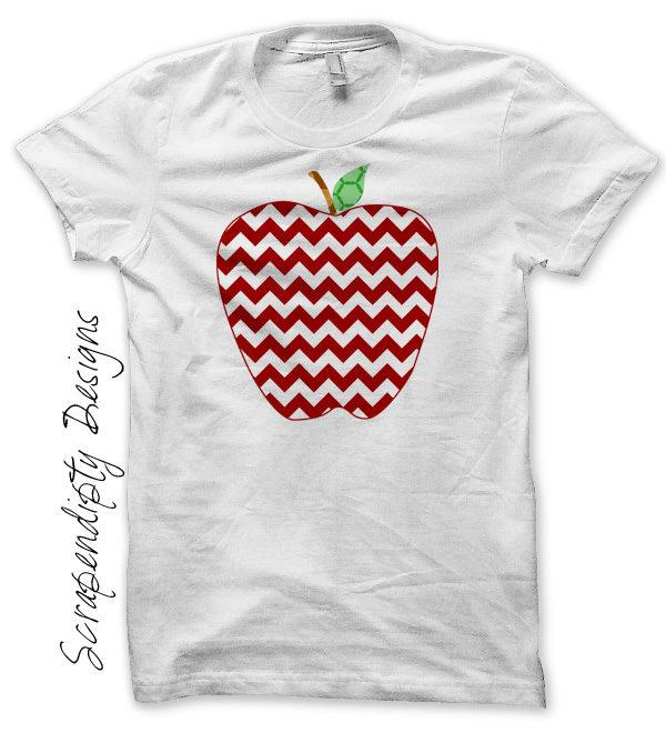 Chevron Apple Iron On Transfer Pattern / Bask to School Shirt / Kids Teacher Gift