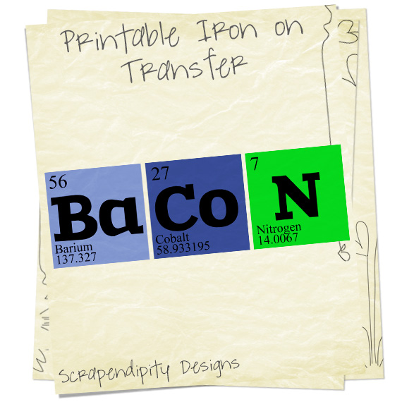 Scrapendipity designs bacon shirt periodic table science tshirt scientist clothes - Iron on the periodic table ...