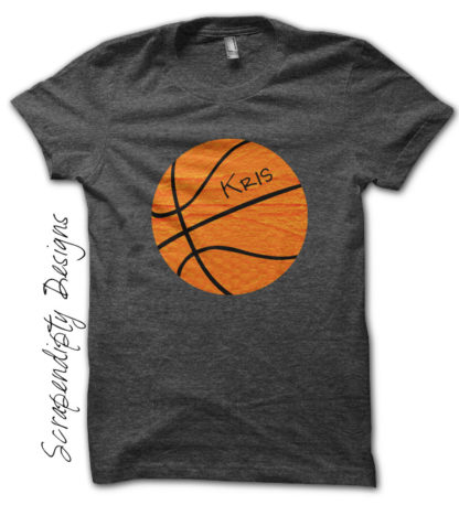 Basketball Iron On Transfer Pattern - Orange Basketball Shirt / Basketball Mom Tshirt / Nursery Print