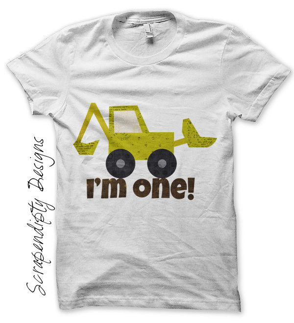 Bulldozer One Iron On Transfer Pattern Baby Boys T Shirt Design First Birthday Kids Construction Outfit