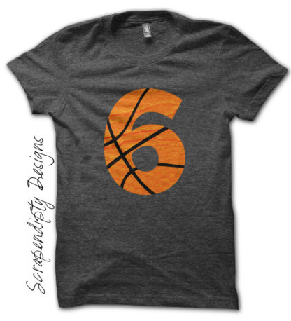 Basketball Number Iron On Transfer Pattern - Kids Basketball Shirt / Toddler Sports Birthday Party