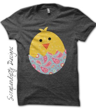 Baby Chick Iron On Transfer Pattern - Girls Easter Shirt / Paisley Babck Chick Tshirt / Spring Chicken Clothes