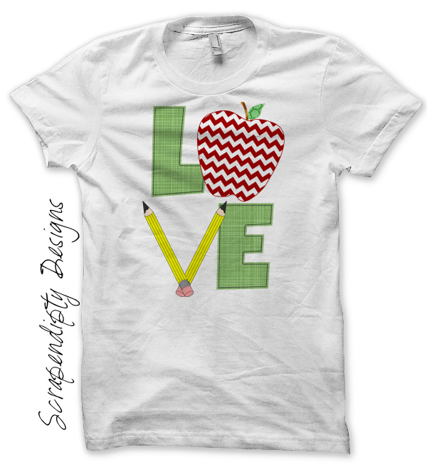 Scrapendipity Designs School Love Iron On Transfer