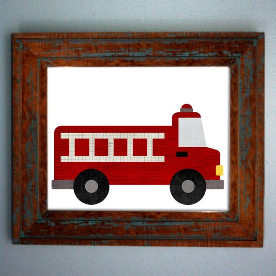 Scrapendipity Designs » Fire Truck Iron On Transfer Pattern – Red ...