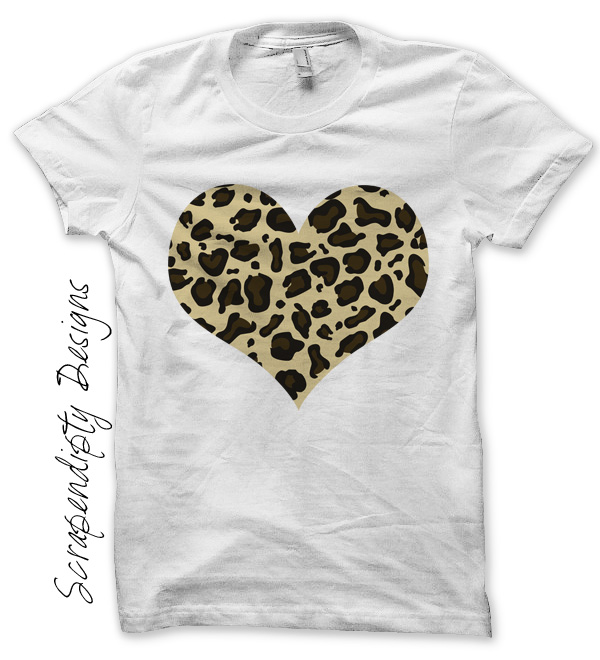 Scrapendipity designs leopard heart iron on transfer for Leopard print shirts for toddlers